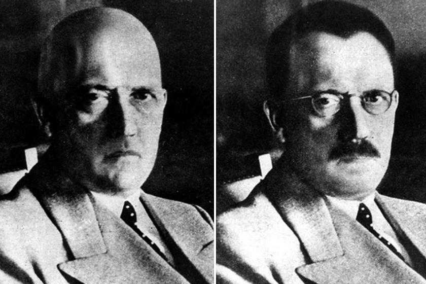 A kopasz, bajusz nélküli Hitlert és a szemüveges, más stílusú bajuszt és hajat viselő Hitlert alig-alig lehet felismerni.