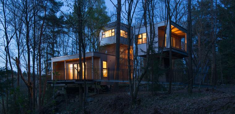 A Baumhaus Lodges, a magas talpakon álló vendégházak Waldviertel hegyeinek erdeiben bújnak meg