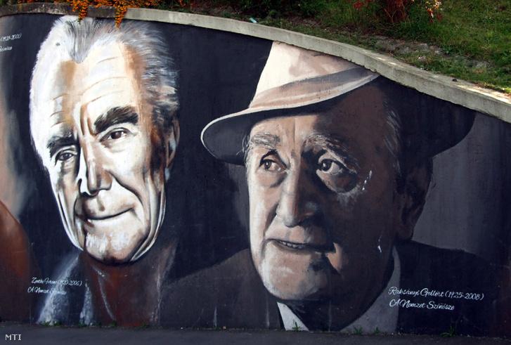 Zenthe Ferenc és Raksányi Gellért portréja a Rákóczi híd pesti hídfőjénél