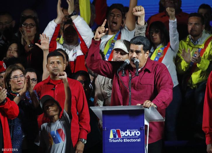 Nicolas Maduro a győzelmet ünnepli Caracasban