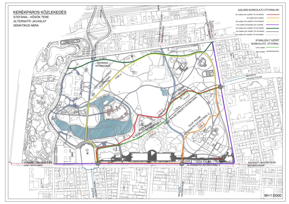 2018 május: lehetséges kerékpáros útirányok a Városligetben. A színes útvonalak csak javaslatok, elvileg valamennyi sétány használható kerékpárral, de nem lesznek a parkban kifejezetten kerékpárútvonalak