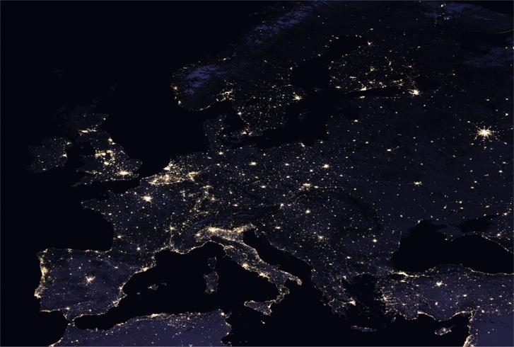 Európa egy 2016-os felvételen