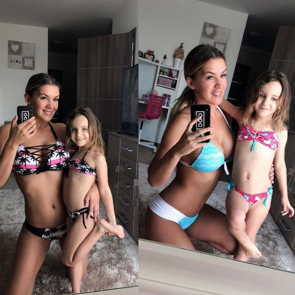 Hódi Pamela Natikával bikiniben pózolt - ahogy a bal oldali fotón is látszik, még ugyanolyan mintájú bikinivel is rendelkeznek.