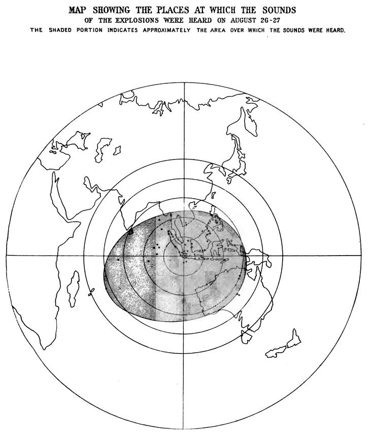 A szürke zóna mutatja, hogy meddig terjedt a vulkánkitörés hangja