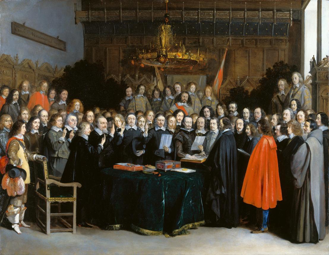 A Vesztfáliai béke ratifikálás Gerard Terborch festményén