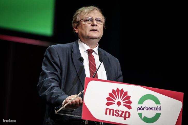 Hiller István, a választások előtti MSZP-PM kampánynyitó gyűlésen, 2018. február 2-án