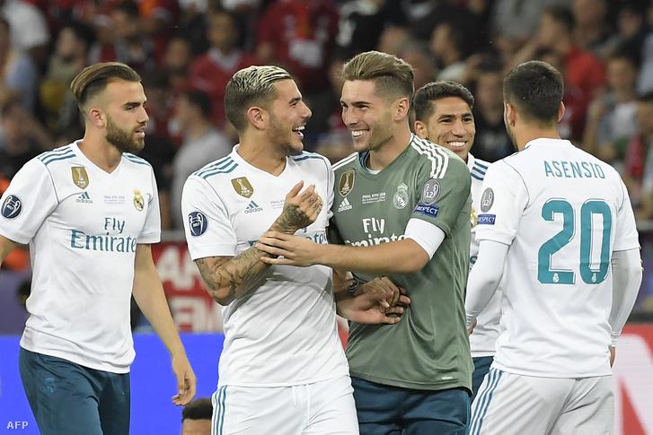 Luca Zidane (kapusmezben) a 2018-as BL-győzelem után
