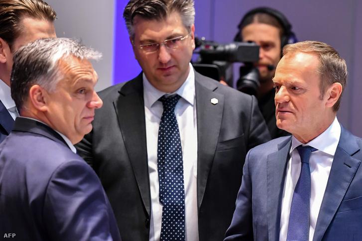 Orbán Viktor és Donald Tusk Brüsszelben 2018. március 23-án