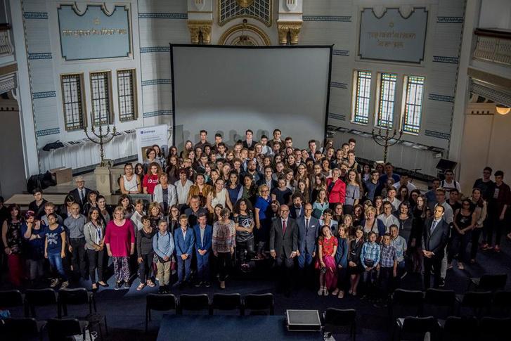 Az idei díjátadó részvevői a Páva utcai Holokauszt Emlékközpontban