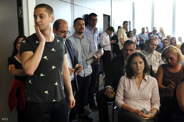 Ungár Péter, Csárdi Antal és Szél Bernadett az LMP kétnapos tisztújító kongresszusán Székesfehérváron 2018. május 26-án