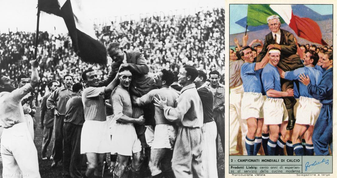 Az győztes olasz csapat ünnepel.