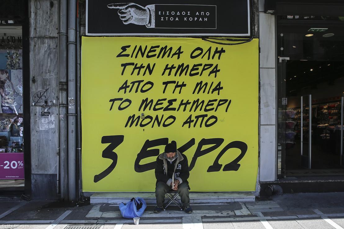 Hajléktalan Athénban 2018 márciusában