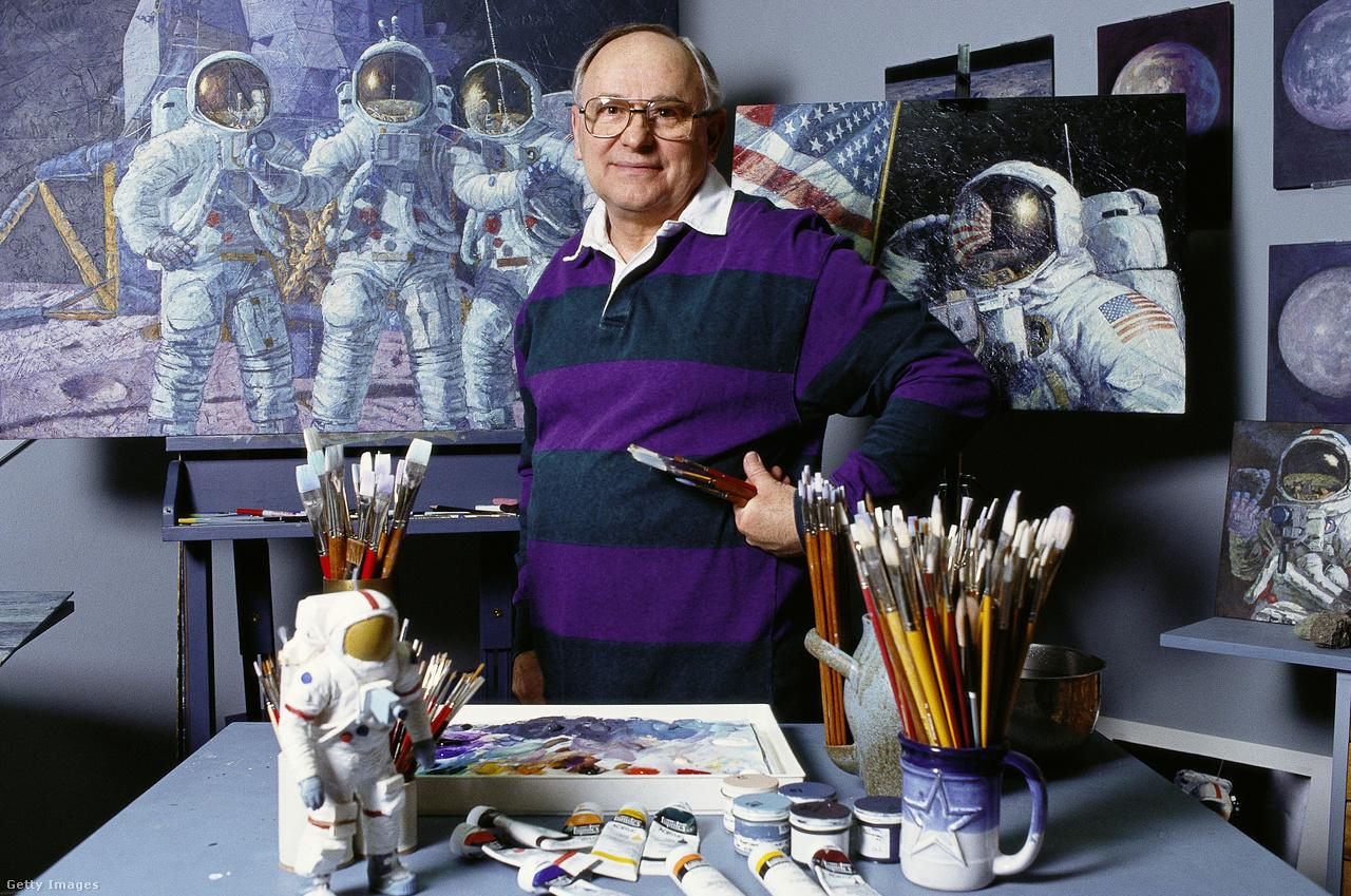 Alan Bean, a festőművész, műtermében, 1992-ben.