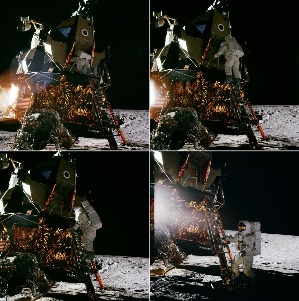 1969. november 19. Alan Bean volt a negyedik ember, aki a Holdra lépett. Íme a történelmi pillanat négy képkockában elmesélve.