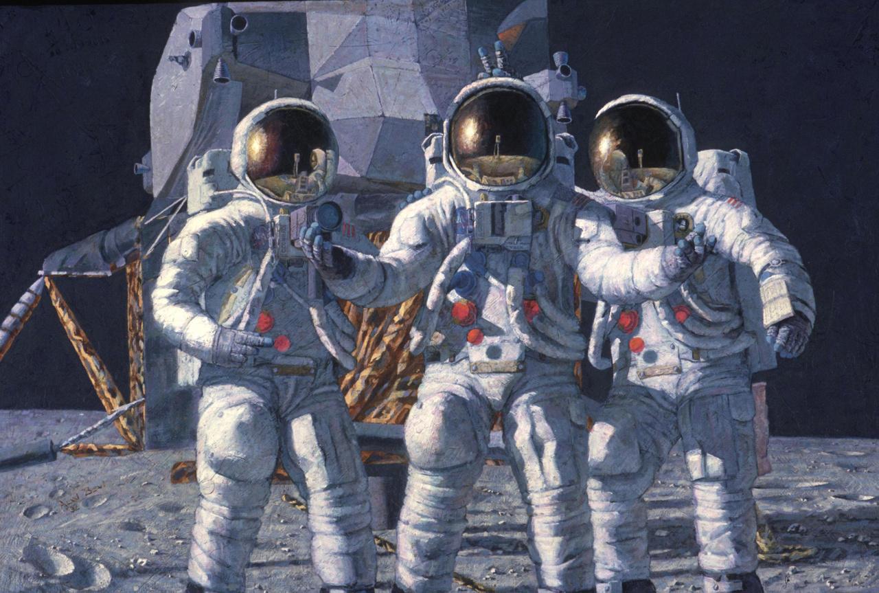 A képzelet (1992). A festmény olyasmit ábrázol, ami a valóságban sosem következhetett be: az Apollo-12 mindhárom űrhajósa (Conrad, Gordon, és Bean) a Holdon. Gordon volt ugyebár a parancsnoki modul pilótája, ő (mint ahogy hasonló tisztű társai a többi holdküldetésen) nem tehette lábát a Holdra, az űrhajóval a Hold körül keringve várta két társa visszatérését.