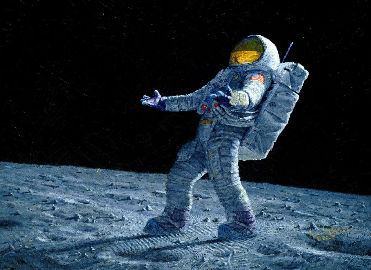 Van odakint valaki? (2000). Bean talán leghíresebb festménye, a viszketős orrú űrhajós mémjének alapja.