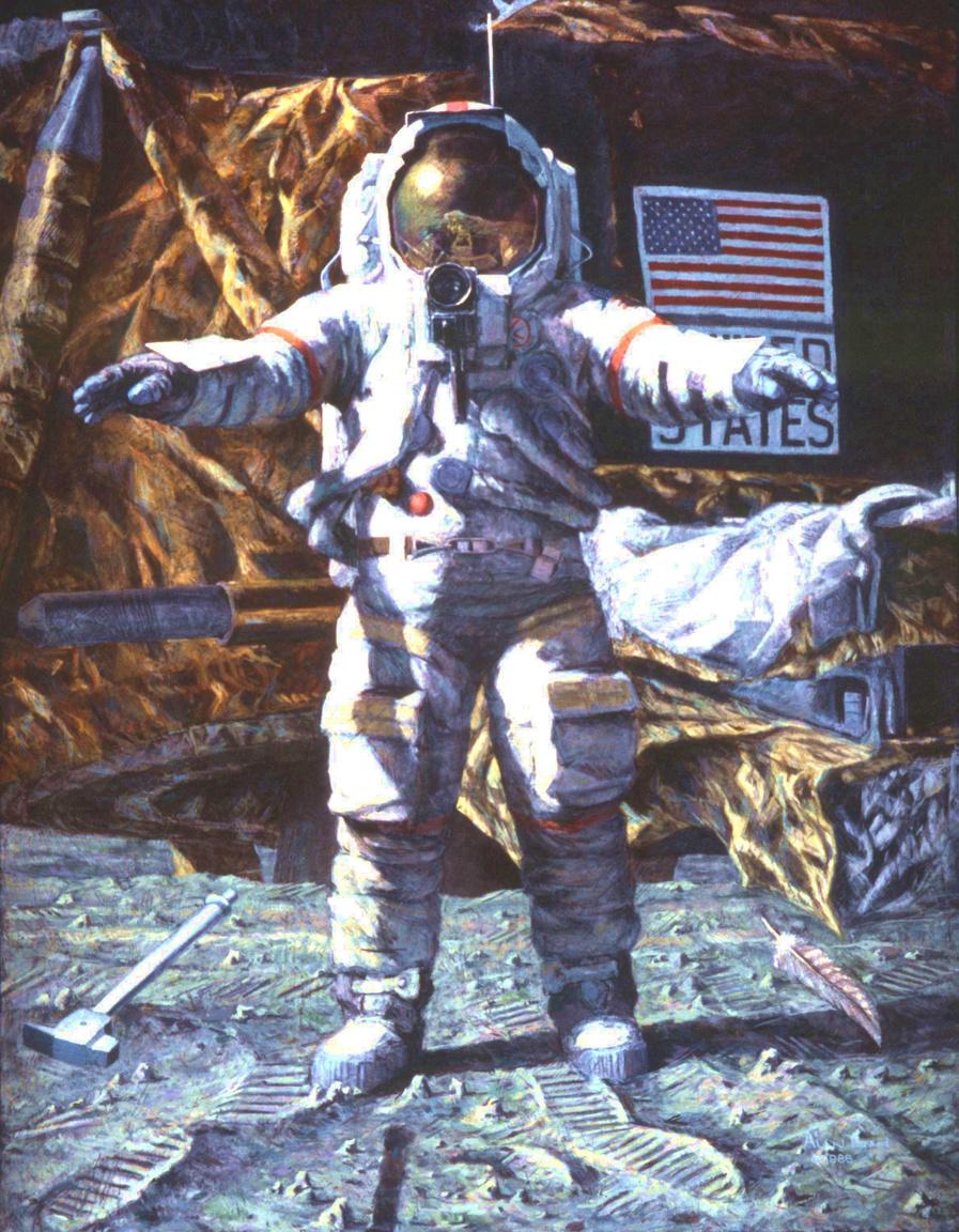 A kalapács és a toll (1986). A rendkívül expresszív festmény Dave Scottot, az Apollo-15 parancsnokát ábrázolja, amint a Holdon egy egyszerű kísérlettel igazolja Galileo tézisét, ami szerint a különböző tömegű tárgyakra azonos mértékben hat a gravitáció, ezért ha légüres térben, amikor nem hat rájuk a légellenállás, elejtjük azokat, azonos sebességgel érnek földet – illetve jelen esetben Holdat.