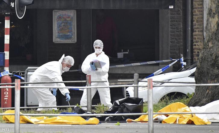 Rendőrök a Liege belvárosában elkövetett lövöldözés helyszínén 2018. május 29-én.