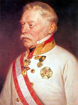 Radetzky, az itáliai osztrák hadsereg főparancsnoka Georg Decker 1850-ben készült festményén
