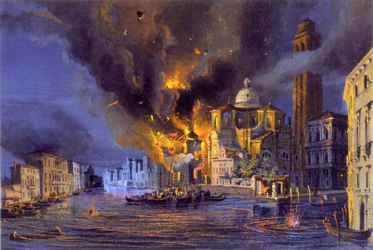 Az égő San Geremia templom egy osztrák tüzérségi támadás után (1850 körül készült festmény)