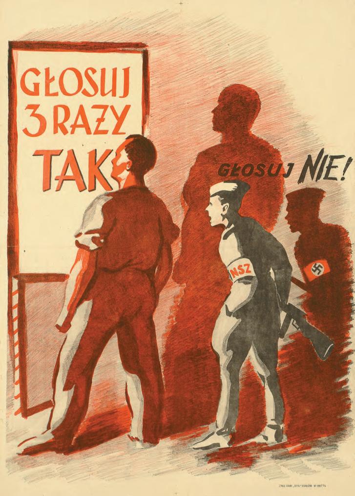"""""""Mindháromszor szavazz igennel – (szavazz nemmel)"""", 1946 – A lengyel kommunisták által kezdeményezett népszavazás mindhárom kérdésére """"igennel"""" való szavazásra, és a """"náci"""" Nemzeti Fegyveres Erők szavának figyelmen kívül való hagyására buzdító plakát."""