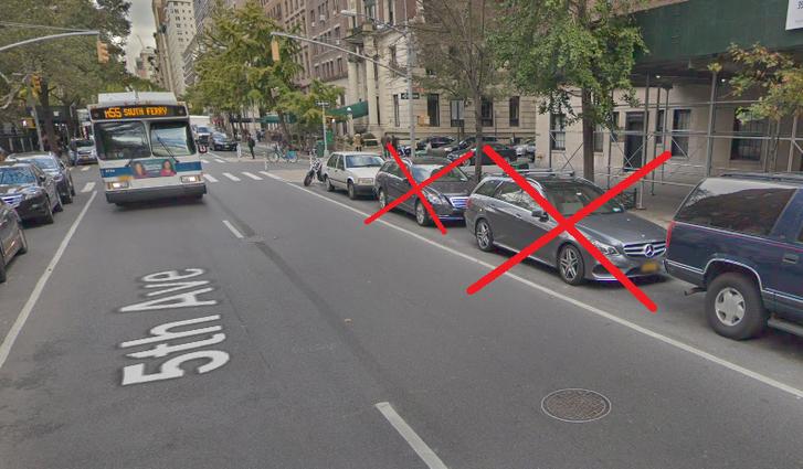 A Google utcaképe a New York-i Fifth Avenue-ról. Jelölve, Trump szerint mi ott a baj