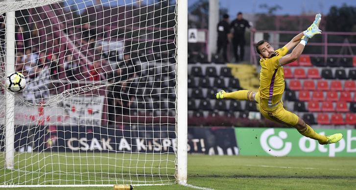 Nagy Gergely a Vasas kapusa gólt kap a labdarúgó OTP Bank Liga 33. utolsó fordulójában játszott Budapest Honvéd - Vasas FC mérkõzésen a kispesti Bozsik Stadionban 2018. június 2-án.