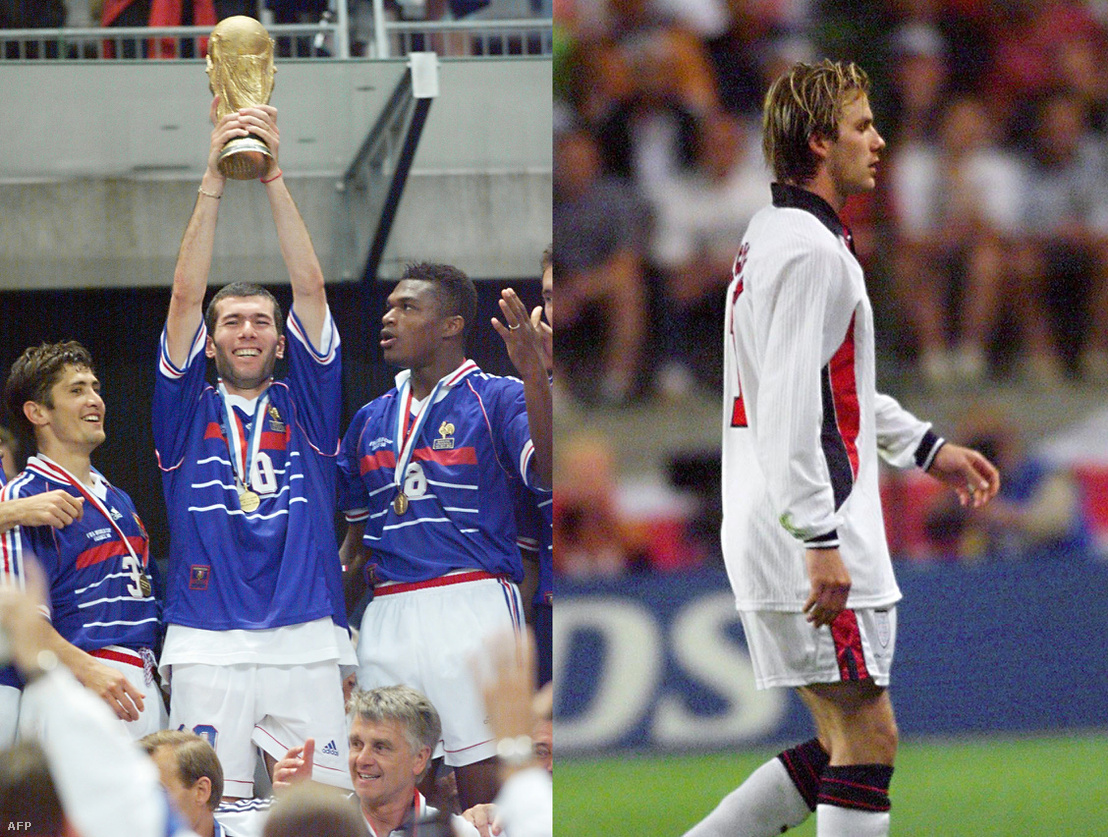 Zidane és a francia csapat a kupával / David Beckham
