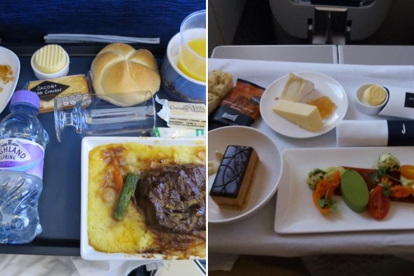 A British Airways turistaosztályán egyszerű, de kiadós, húsos-zöldséges menü volt. Ezzel szemben a business osztály kínálata inkább gourmet jellegű. A csinos tálalás mellett sokféle ízt van lehetősége kipróbálni az utasnak.
