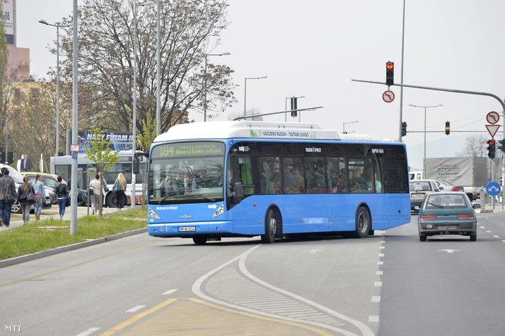 Van Hool A330 CNG típusú busz közlekedik a 184-es vonalon a XIX. kerületi Vak Bottyán utcában