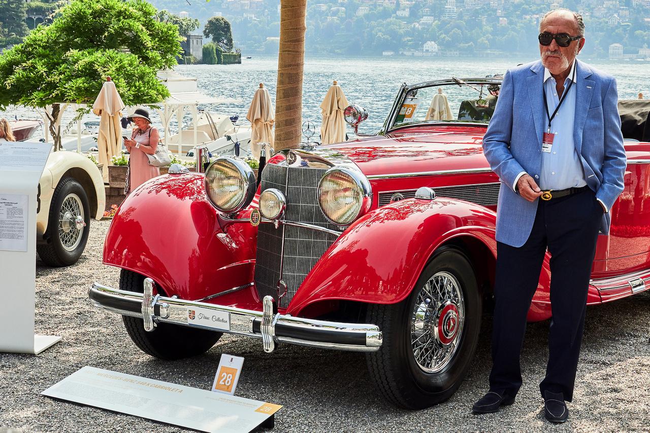 Mercedes-Benz 540 K Cabriolet, 1937. Az úr pedig a tulaj, Ion Tiriac, 1939. Az egykori teniszező, menedzser, üzletember a leggazdagabb román. Autógyűjteménye világviszonylatban is jelentős, háromszáznál több különleges kocsit birtokol. Ez a Mercedes egyike a 83 Cabriolet A kivitelnek a 444 darabos szériából – annak idején ezek a kocsik csaknem háromszor annyiba kerültek, mint egy hasonló kategóriájú Packard vagy Cadillac.
