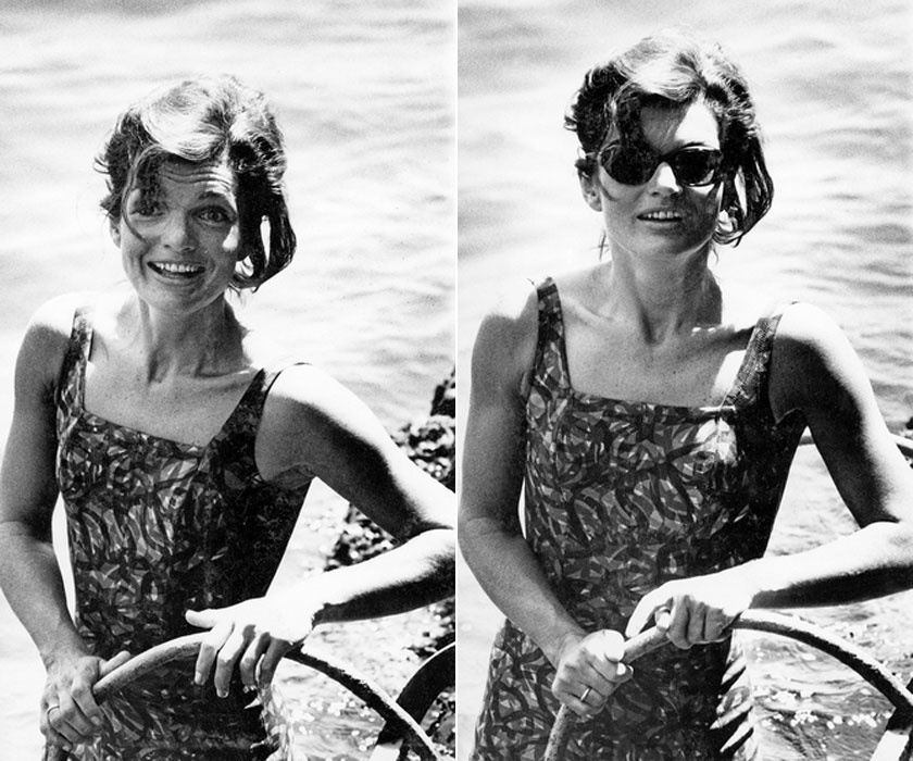 Jackie Kennedy az olaszországi Ravellóban, 1962-ben. Törékeny alkatával fürdőruhában is gyönyörű volt.