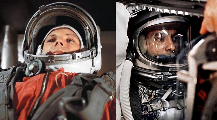 A két pisis űrhős: balra Gagarin, jobbra Shepard útja előtt