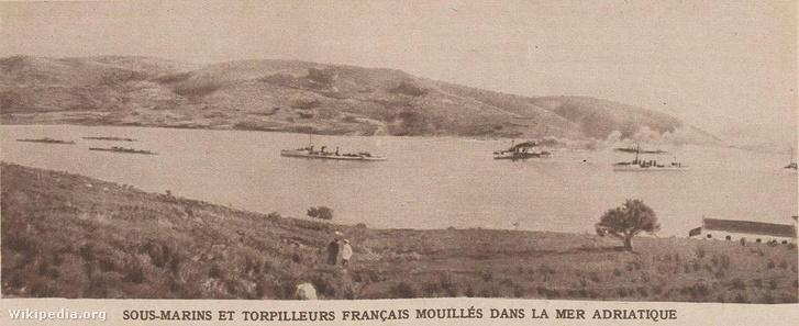 Francia tengeralattjárók és torpedóhajók, amelyek 1915 elején részt vettek az Adriai blokádban.