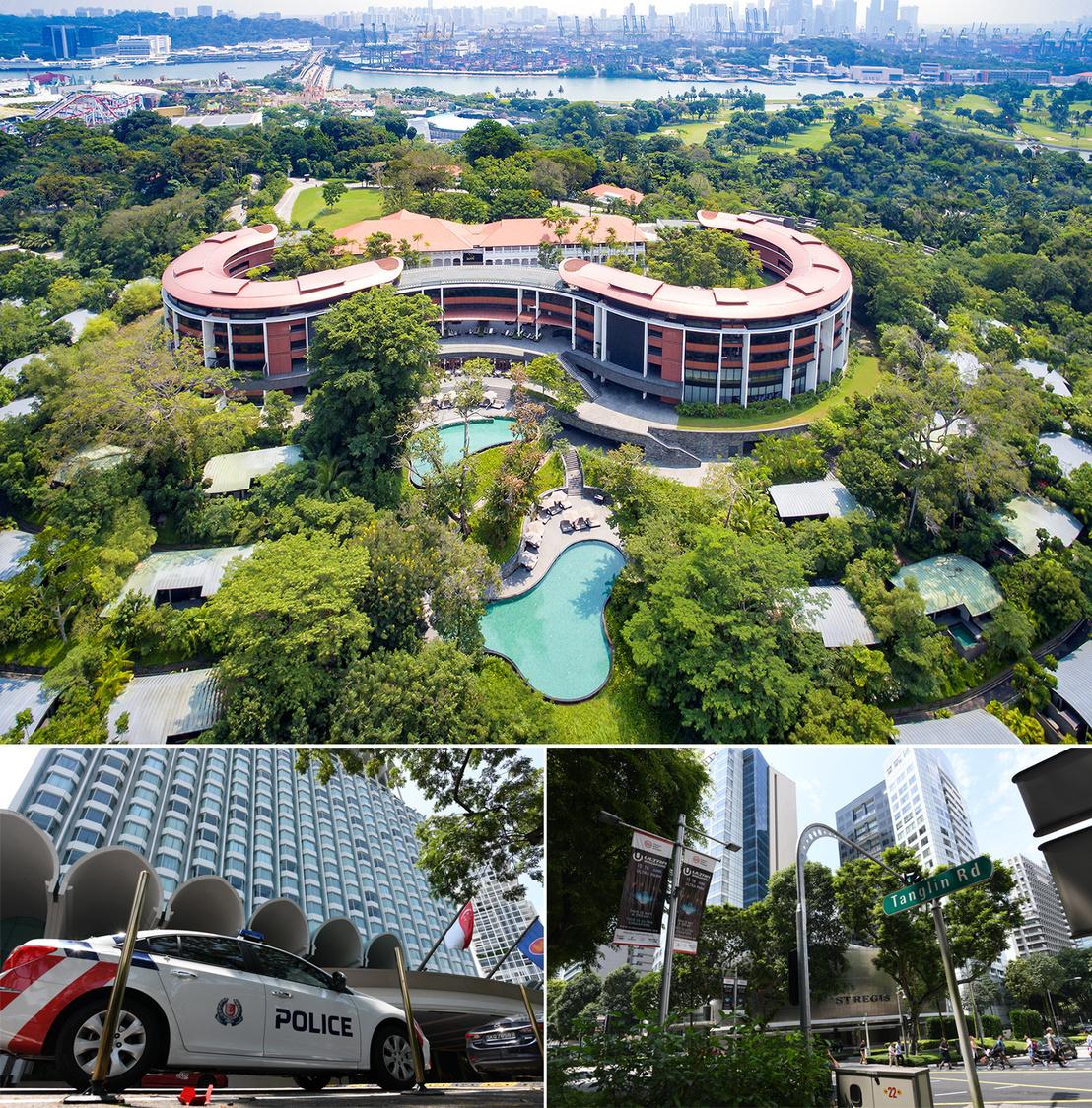 A Capella Hotel Sentosa szigetén, alatta balra a Shangri-La Hotel, ahol Donald Trump amerikai elnök száll majd meg, jobbra a St Regis Singapore Hotel, ami Kim Dzsongun és kíséretének szállása lesz