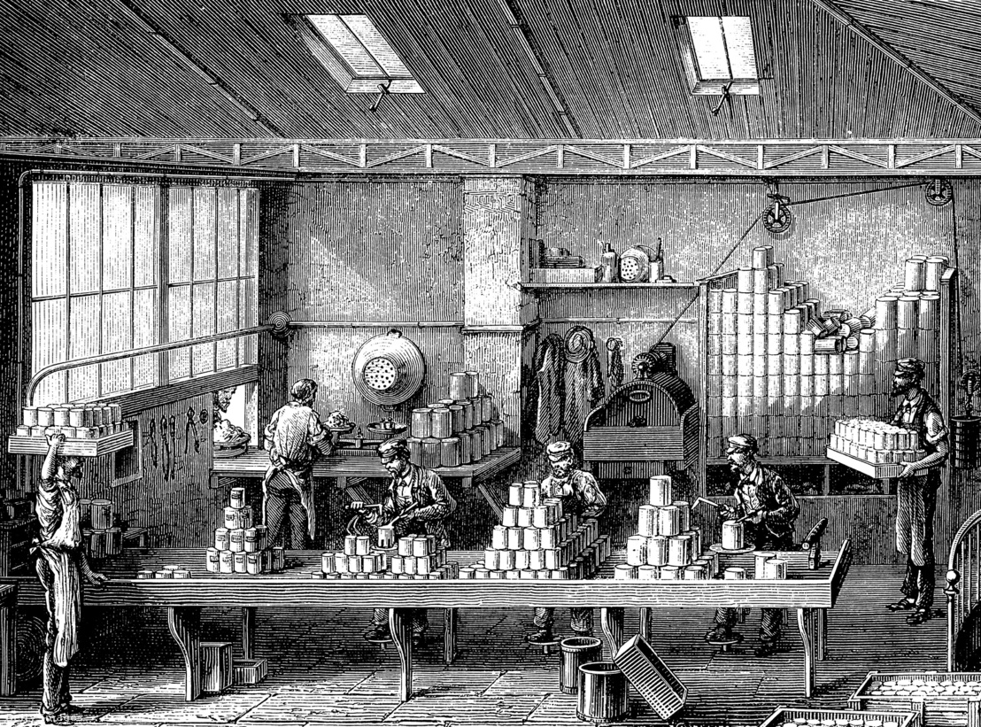 1870-es metszet egy korabeli konzervgyárról