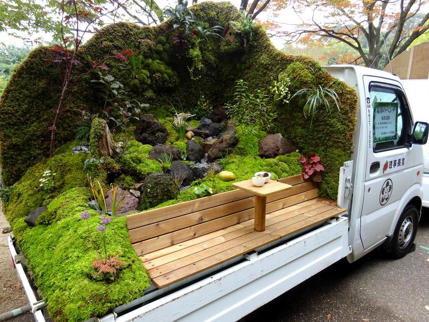 Üde kert, kávézásra alkalmas padocskával.