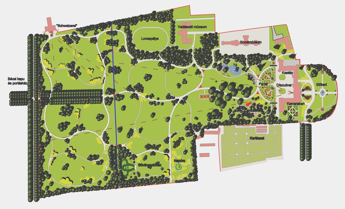 Keszthely: A teljes park ideális helyreállítási terve 2011-ből. Kutatás és terv: Alföldy Gábor, grafika: Szende András