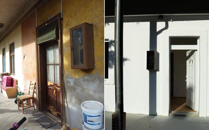 """Így nézett ki a ház korábban, és ilyen most: a bal oldali fotón az """"előtte"""", a jobb oldalin pedig az """"utána"""" állapot látható."""