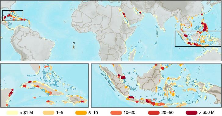 A leginkább veszélyeztetett területek és a becsült éves kár térképen