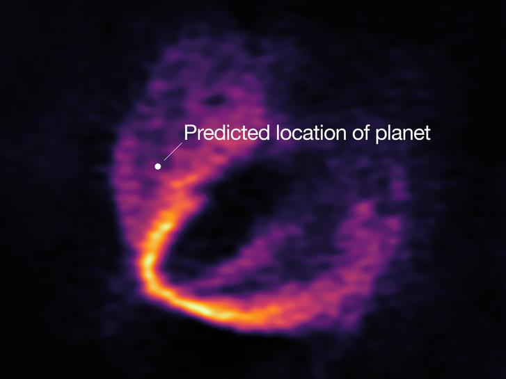 A HD 163296 körülötti protoplanetáris ködben fiatal bolygóra utaló nyom