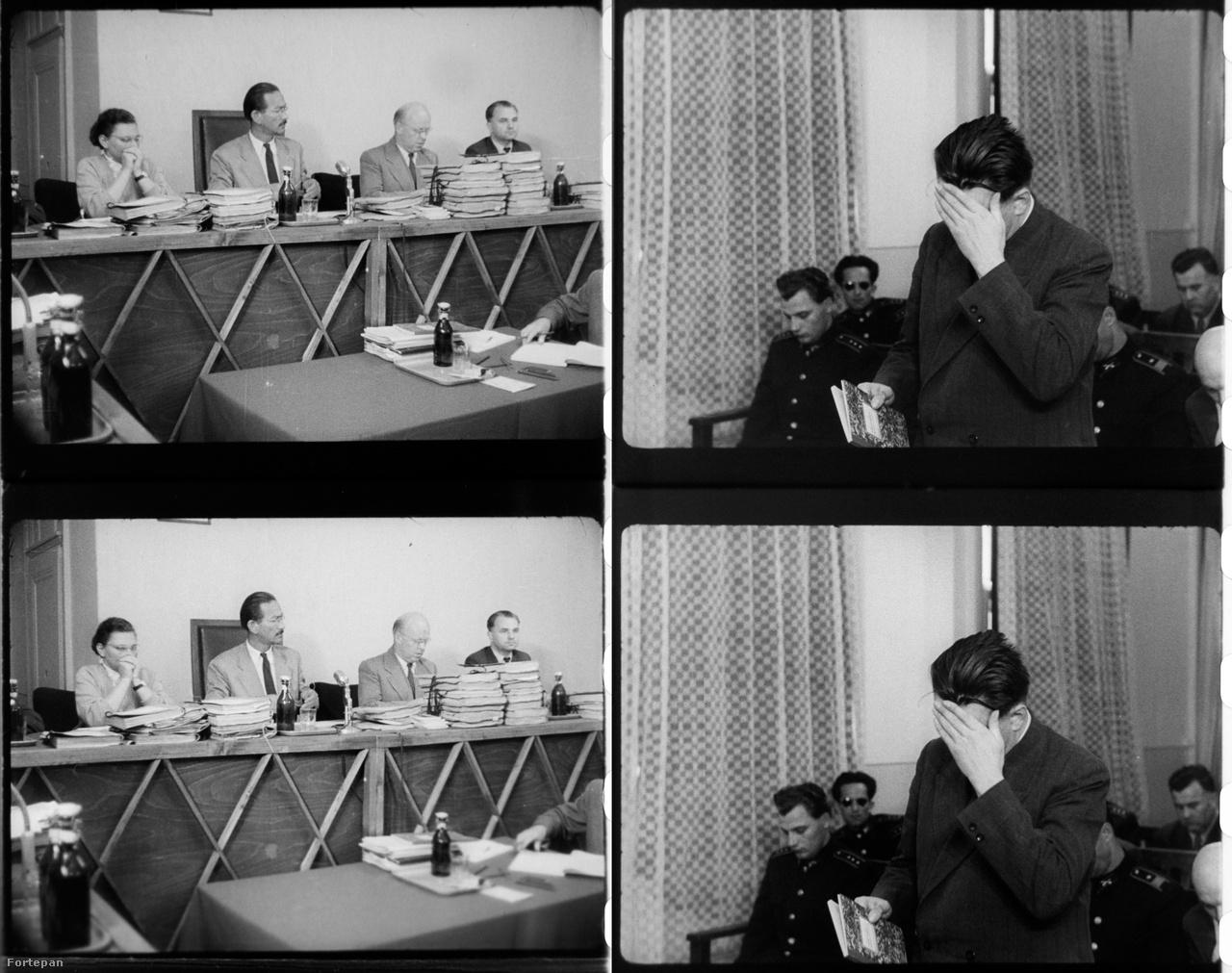 """Hamarjában összeállított, bútorlemezből és puhafa lécekből készített bírói pulpitus, hogy a valódi bíróságnak legalább a látszata meglegyen úgy-ahogy. A június 9. és 15. közötti tárgyalásokat ugyanis valójában egy kizárólag ezekre a perekre átalakított, egyébként kultúrteremként használt helyiségben tartották a Gyorskocsi utcai börtön harmadik emeletén. A bíróság tagjai a per egy hete alatt el sem hagyták az épületet, ott aludtak, a tárgyalóterem mellett pedig egy svédasztalos szobát tartottak fenn nekik. A külvilág kizárása és a filmes világosítók kedvéért az ideiglenes tárgyalótermet lefüggönyözték, de a meleg és a levegőtlenség miatt egy idő után a becsukott ablakokat mégis kénytelenek voltak kinyitni. """"A tárgyalás utolsó napjaiban jól hallható madárcsicsergést rögzítettek a magnetofonok."""""""