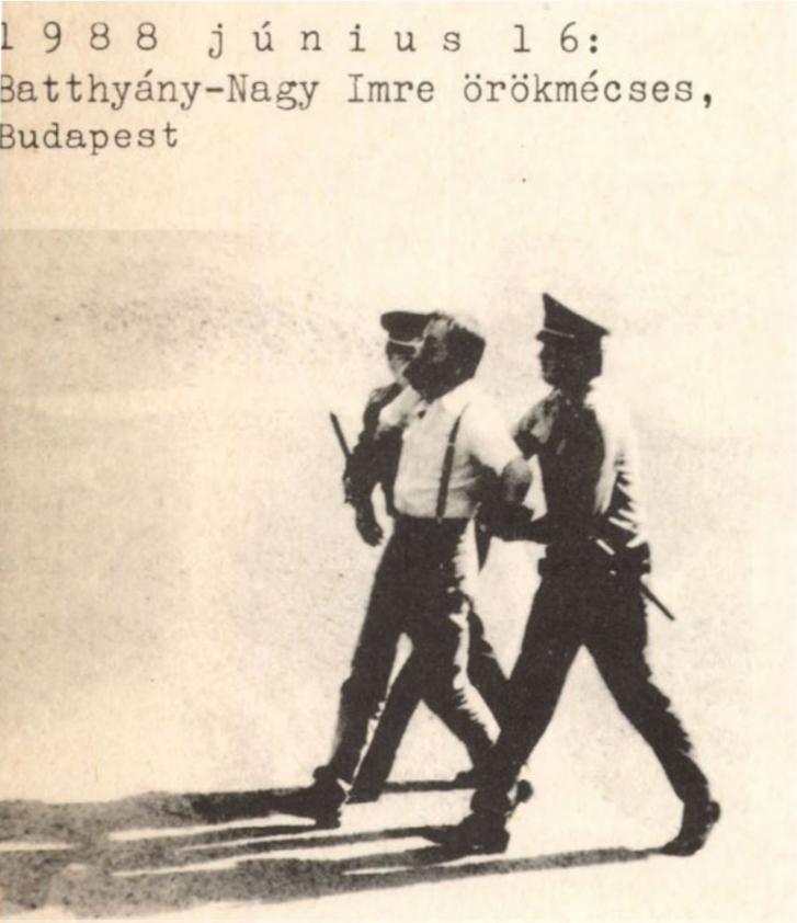 A Beszélő egyik 1988-as címlapja, a képen Tamás Gáspár Miklóst viszik el a rendőrök a június 16-ei megemlékezésről.