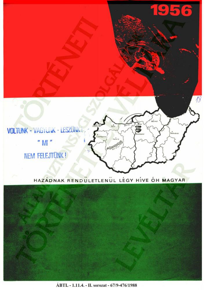 1956-ra emlékező nyomat '88-ból, a nyugati magyar emigrációból.