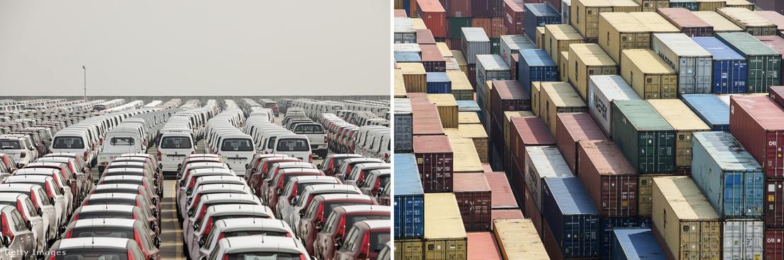 Exportra várakozó autók és konténerek a Sanghaji kikötőben