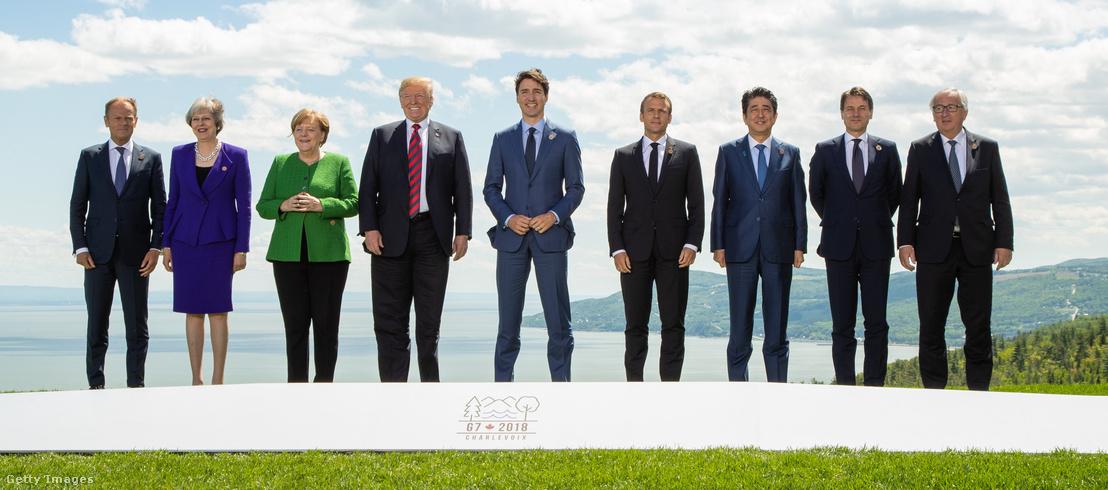 A G7 vezető politikusai a kanadai csúcson, 2018. júniusában.