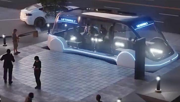 A The Boring Company látványtervén épp megindul lefelé a minibusz az alagútba