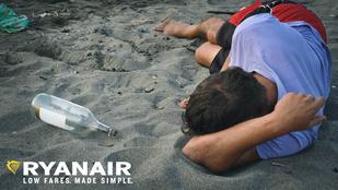 Tökrészeg fiatallal reklámozta magát a Ryanair