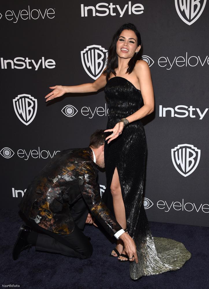 Jenna Dewan MostmárnemTatum mögött a 2017-es Golden Globe-kiosztón bújt el majdnem sikeresen a ruhaigazító.