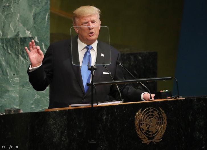 Donald Trump amerikai elnök az ENSZ közgyűlése 72. ülésszakának nyitóülésén